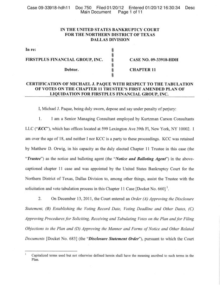 Case 09-33918-hdh11   Doc 750 Filed 01/20/12 Entered 01/20/12 16:30:34   Desc                        Main Document    Page...