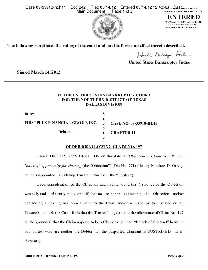 Case 09-33918-hdh11         Doc 842 Filed 03/14/12 Entered 03/14/12 12:40:43 BANKRUPTCY COURT                             ...