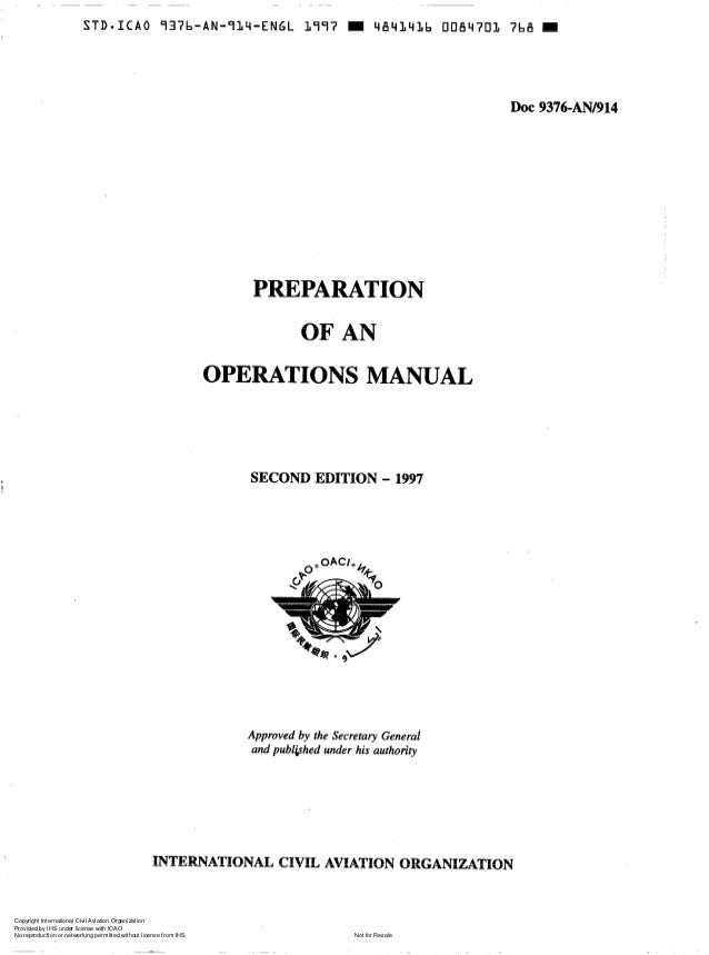 Doc 9376 preparation of an operations manual