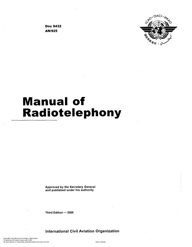 Doc 9432 AN1925  Approved by the Secretary General and published under his authority  Third Edition - 2006  International ...