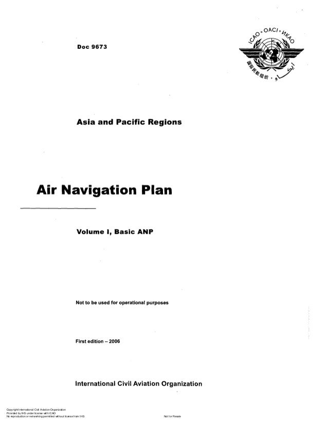 Doc 9673 air navigation plan asia and pacific rigion vol i