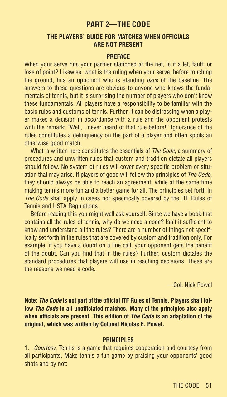 PART 2—THE CODE          THE PLAYERS' GUIDE FOR MATCHES WHEN OFFICIALS                         ARE NOT PRESENT            ...