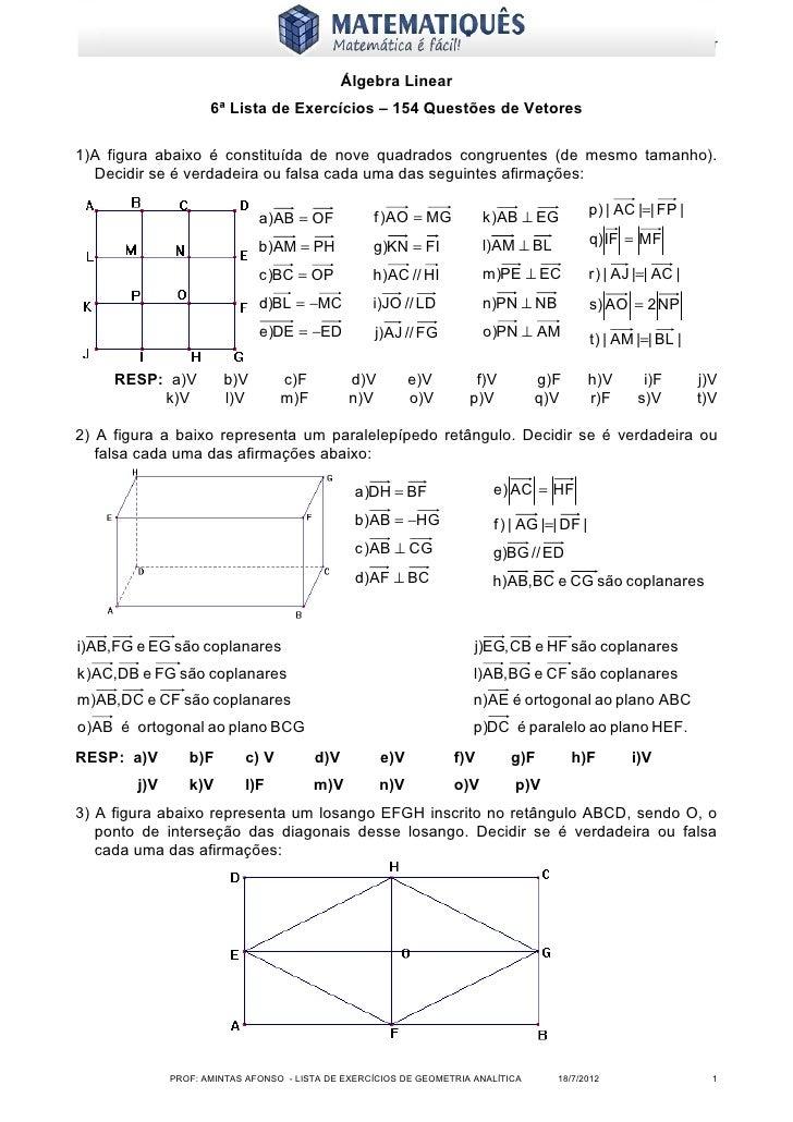 www.matematiques.com.br                                              Álgebra Linear                     6ª Lista de Exercí...