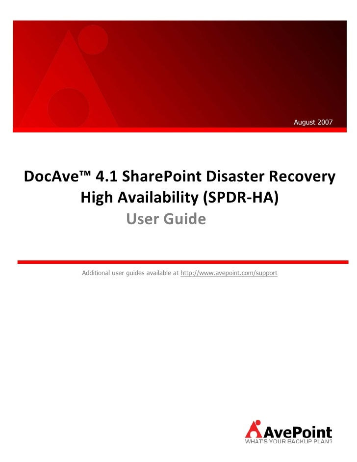 Doc Ave4.1 Disaster Recovery High Availability User Guide
