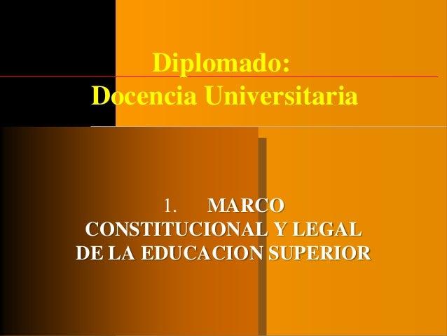 Diplomado: Docencia Universitaria 1. MARCO CONSTITUCIONAL Y LEGAL DE LA EDUCACION SUPERIOR