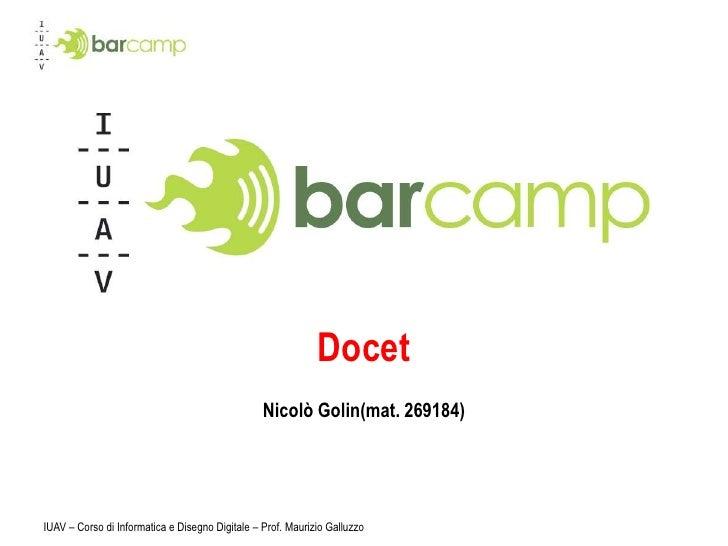 IuavCamp Presentazione Docet