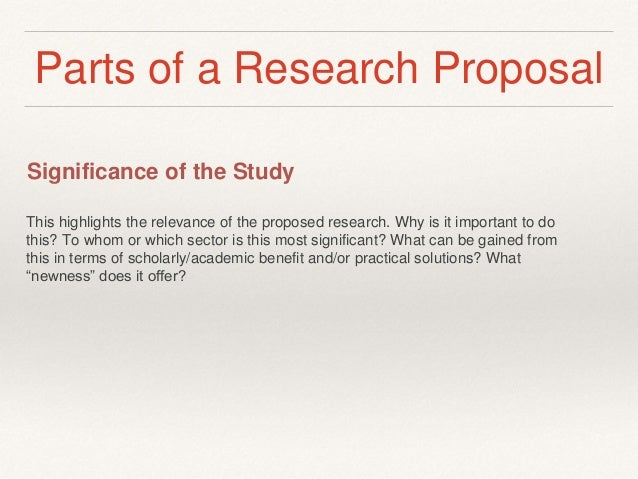 Parts of the research proposal
