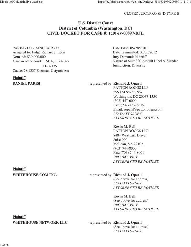 District of Columbia live database                          https://ecf.dcd.uscourts.gov/cgi-bin/DktRpt.pl?111631930209899...