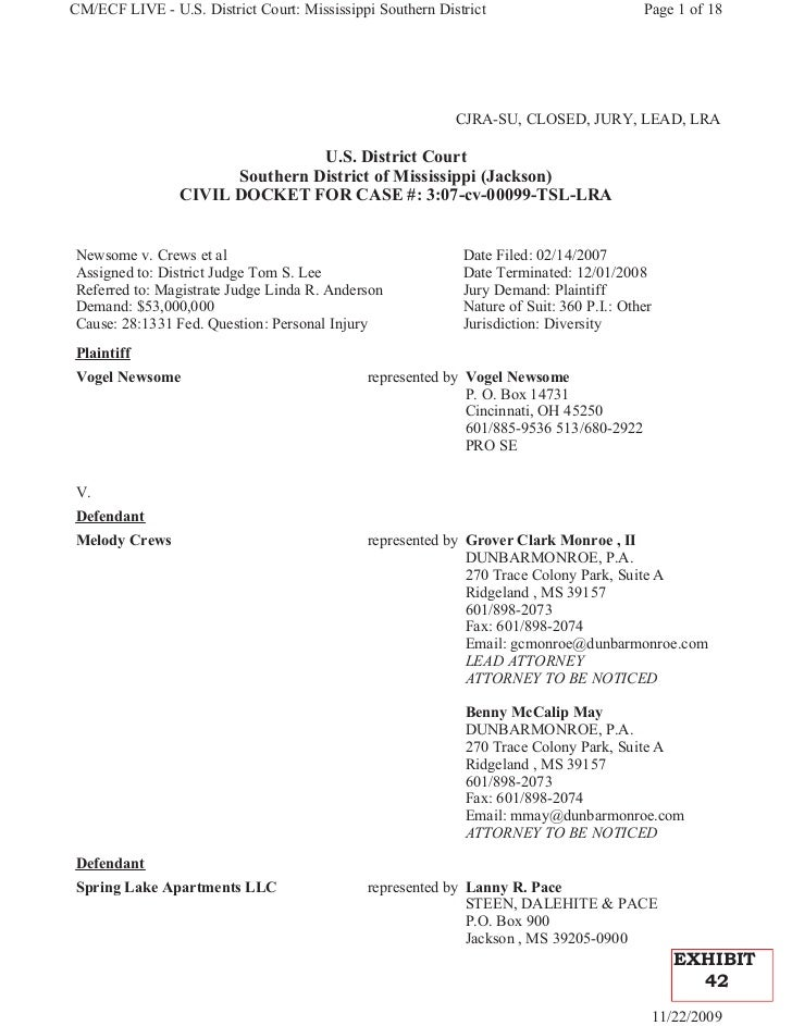 CM/ECF LIVE - U.S. District Court: Mississippi Southern District                         Page 1 of 18                     ...