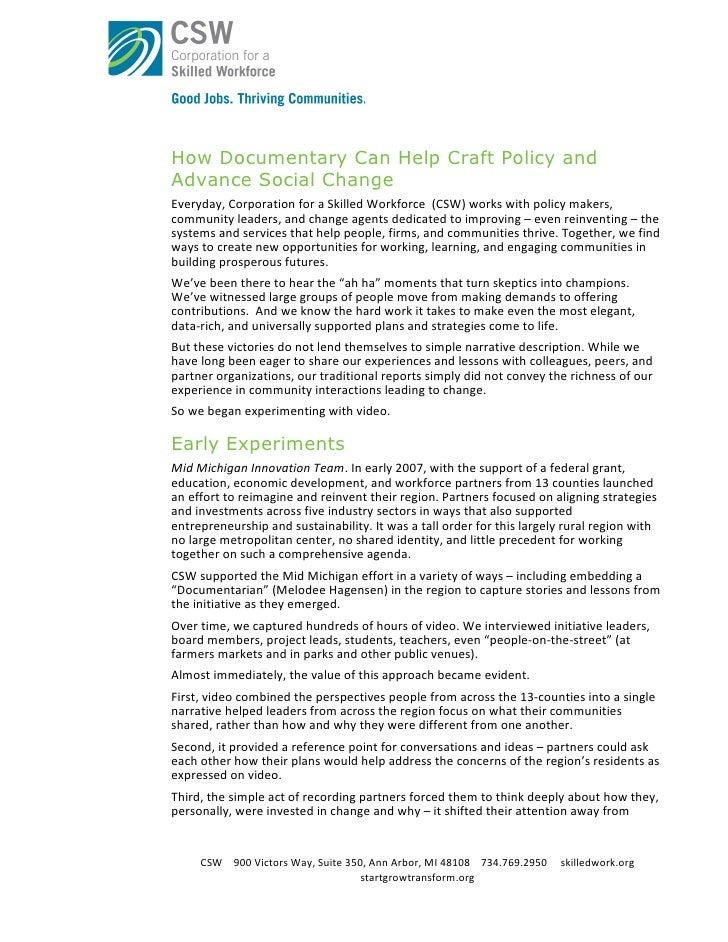 How Documentary Can Help Craft Policy and Advance Social Change Everyday,  Corporation  for  a  Skilled  Workfor...