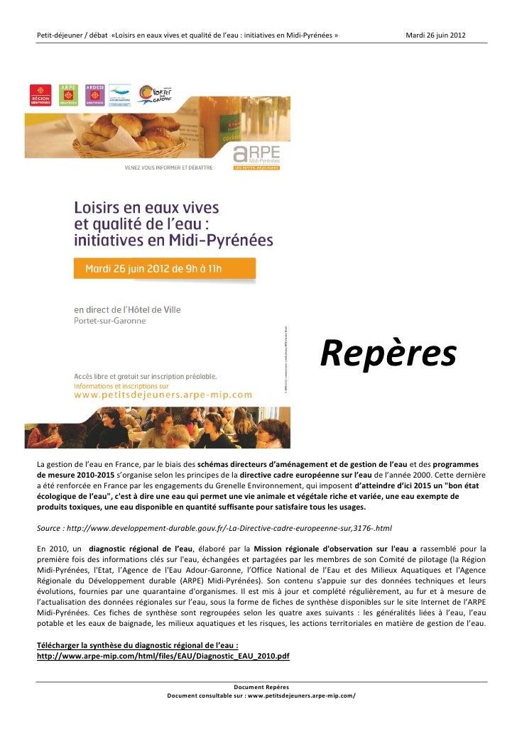 """Document Repères du petit-déjeuner / débat """" Loisirs en eaux vives et qualité de l'eau : initiatives en Midi-Pyrénées """"."""