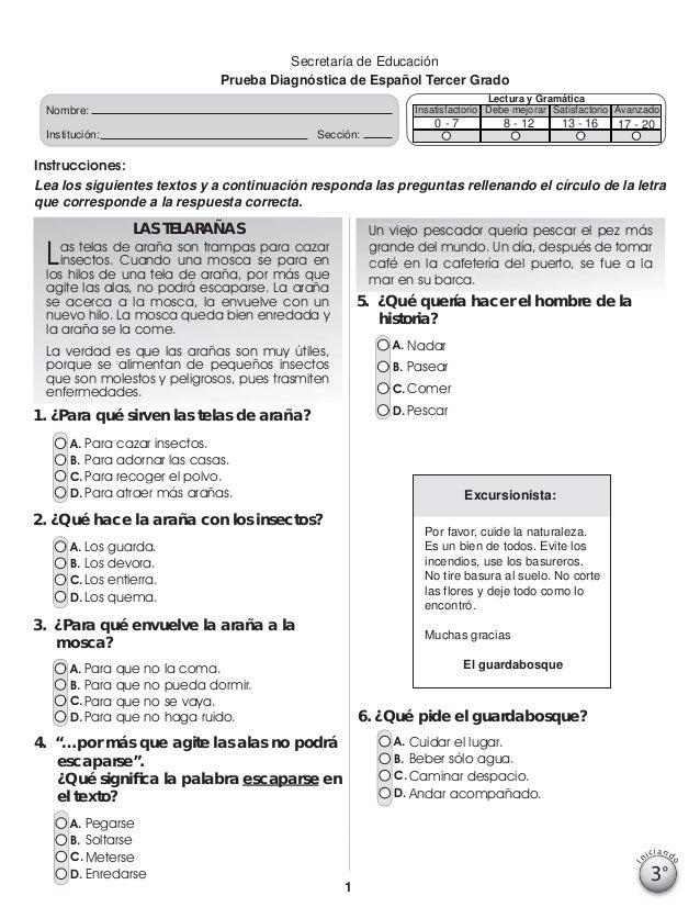 Secretaría de Educación Prueba Diagnóstica de Español Tercer Grado Lectura y Gramática Insatisfactorio Debe mejorar Satisf...