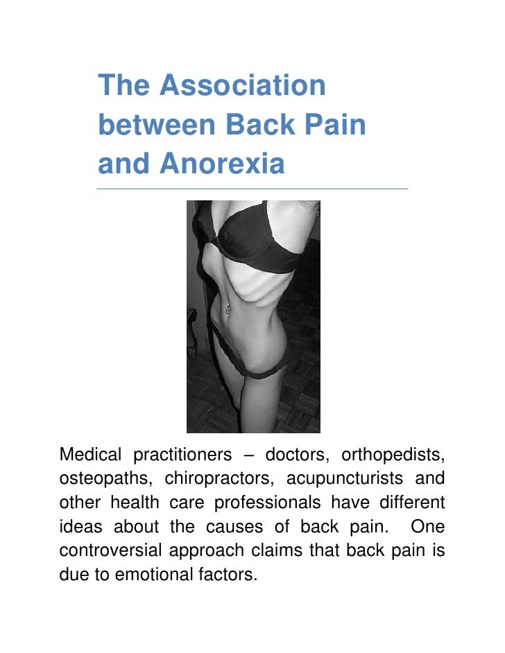 The Association between Back Pain and Anorexia <br />Medical practitioners – doctors, orthopedists, osteopaths, chiropract...