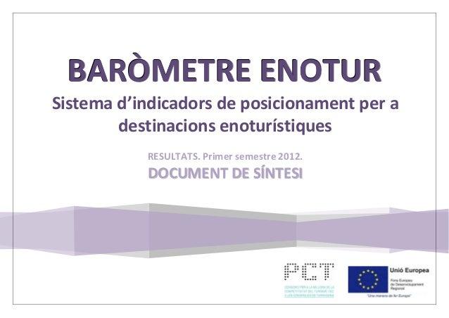 Document de síntesi del Baròmetre Enotur, Sistema d'Indicadors de posicionament per a destinacions enoturístiques