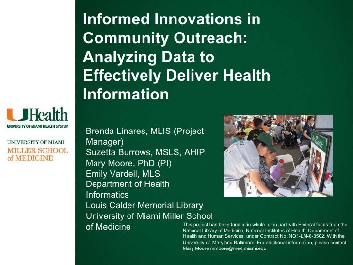 Informed Innovations in Community Outreach: Analyzing Data to Effectively Deliver Health Information