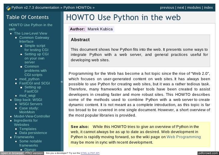 Docs Python Org Howto Webservers Html