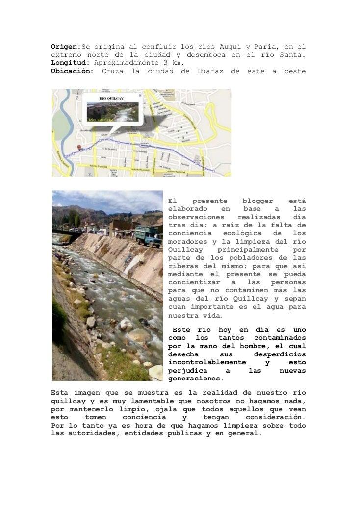 contaminacion ambiental del rio quillcay