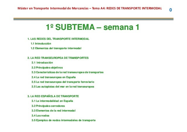 Máster en Transporte Intermodal de Mercancías – Tema A4: REDES DE TRANSPORTE INTERMODAL                                   ...