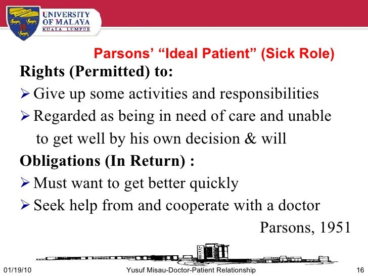 parsons' sick role Abstract this paper addresses the relevance of parsons' concept of the 'sick role' to the experience of illness in contemporary society by building on recent research, which suggests that the increasing predominance of chronic disease changes the temporal structure of the experience of illness.