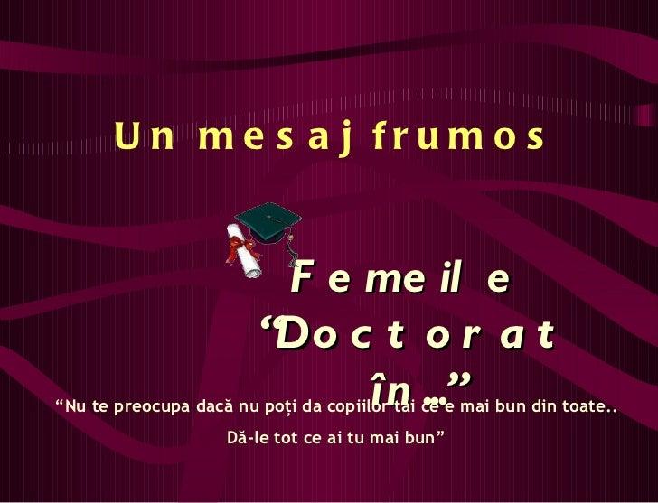 Doctorat.... pentru mame