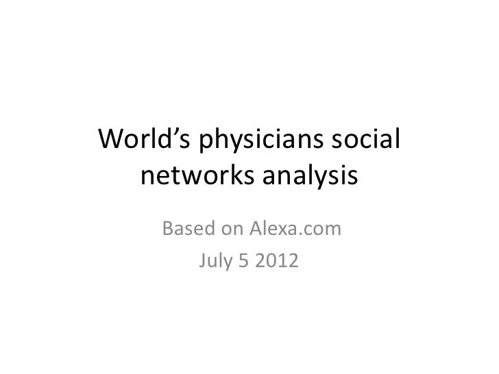 World's physicians social  networks analysis     Based on Alexa.com         July 5 2012