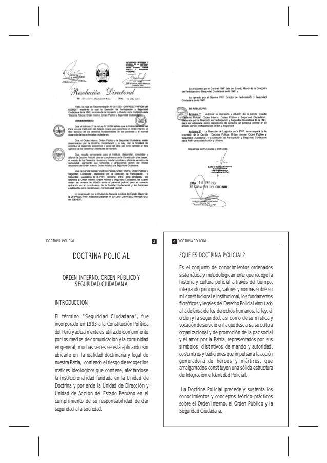 """DOCTRINA POLICIAL ORDEN INTERNO, ORDEN PÚBLICO Y SEGURIDAD CIUDADANA INTRODUCCION El término """"Seguridad Ciudadana"""", fue in..."""