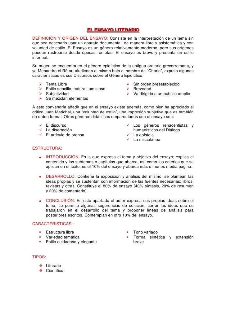 EL ENSAYO LIITERARIIO                               EL ENSAYO L TERAR O DEFINICIÓN Y ORIGEN DEL ENSAYO: Consiste en la int...
