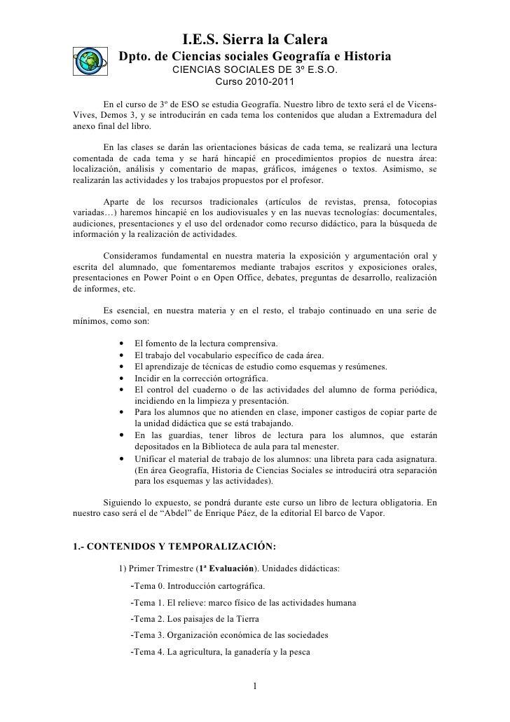 I.E.S. Sierra la Calera             Dpto. de Ciencias sociales Geografía e Historia                            CIENCIAS SO...