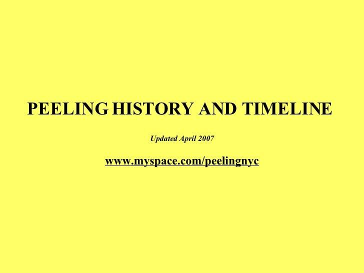PEELING HISTORY AND TIMELINE  Updated April 2007 www.myspace.com/peelingnyc