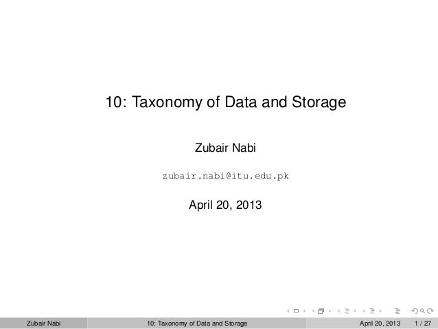 10: Taxonomy of Data and Storage Zubair Nabi zubair.nabi@itu.edu.pk April 20, 2013 Zubair Nabi 10: Taxonomy of Data and St...