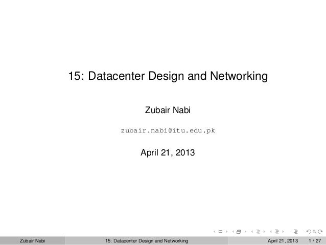 Topic 15: Datacenter Design and Networking