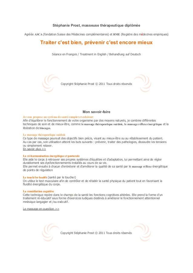 Stéphanie Prost, masseuse thérapeutique diplômée Agréée ASCA (fondation Suisse des Médecines complémentaires) et RME (Regi...
