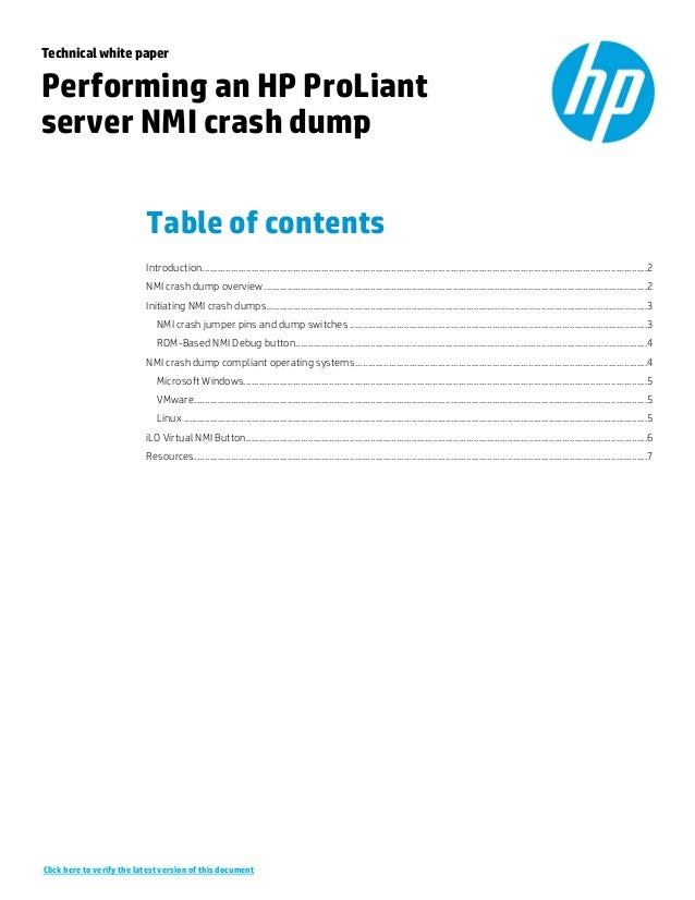 Technical white paper Performing an HP ProLiant server NMI crash dump Table of contents Introduction.........................