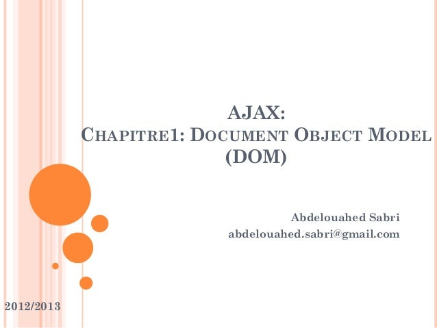 AJAX:CHAPITRE1: DOCUMENT OBJECT MODEL(DOM)Abdelouahed Sabriabdelouahed.sabri@gmail.com2012/2013