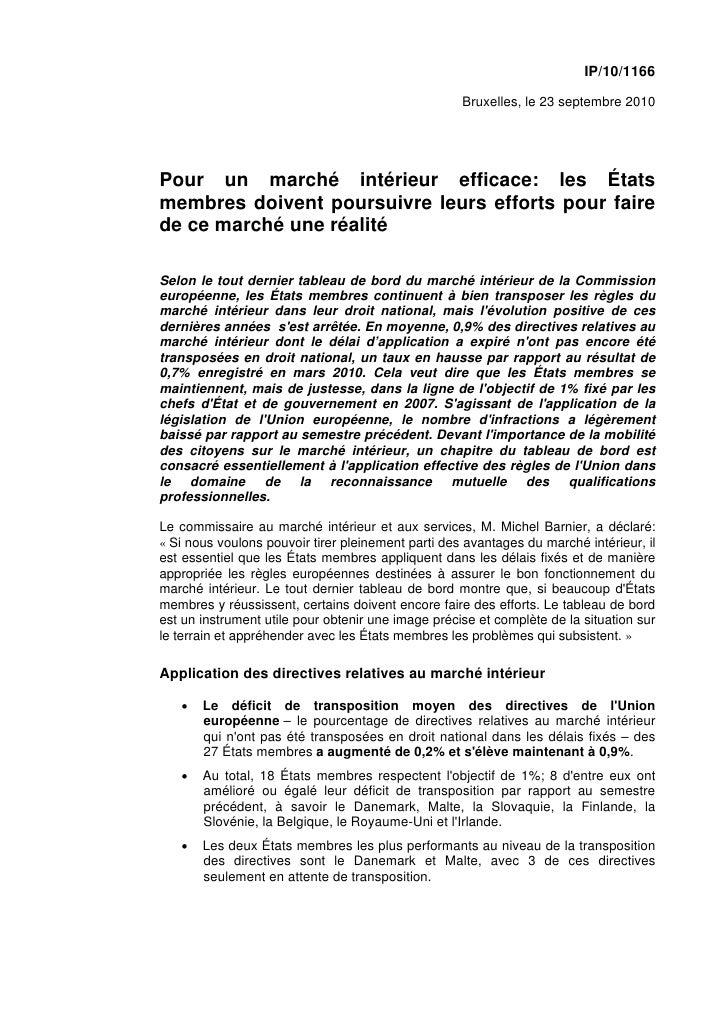 IP/10/1166                                                      Bruxelles, le 23 septembre 2010     Pour un marché intérie...
