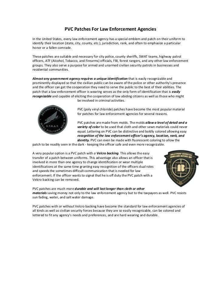PVC Patches For Law Enforcement Agencies