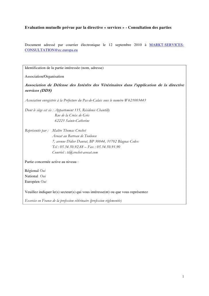 Evaluation mutuelle prévue par la directive « services » - Consultation des parties    Document adressé par courrier élect...
