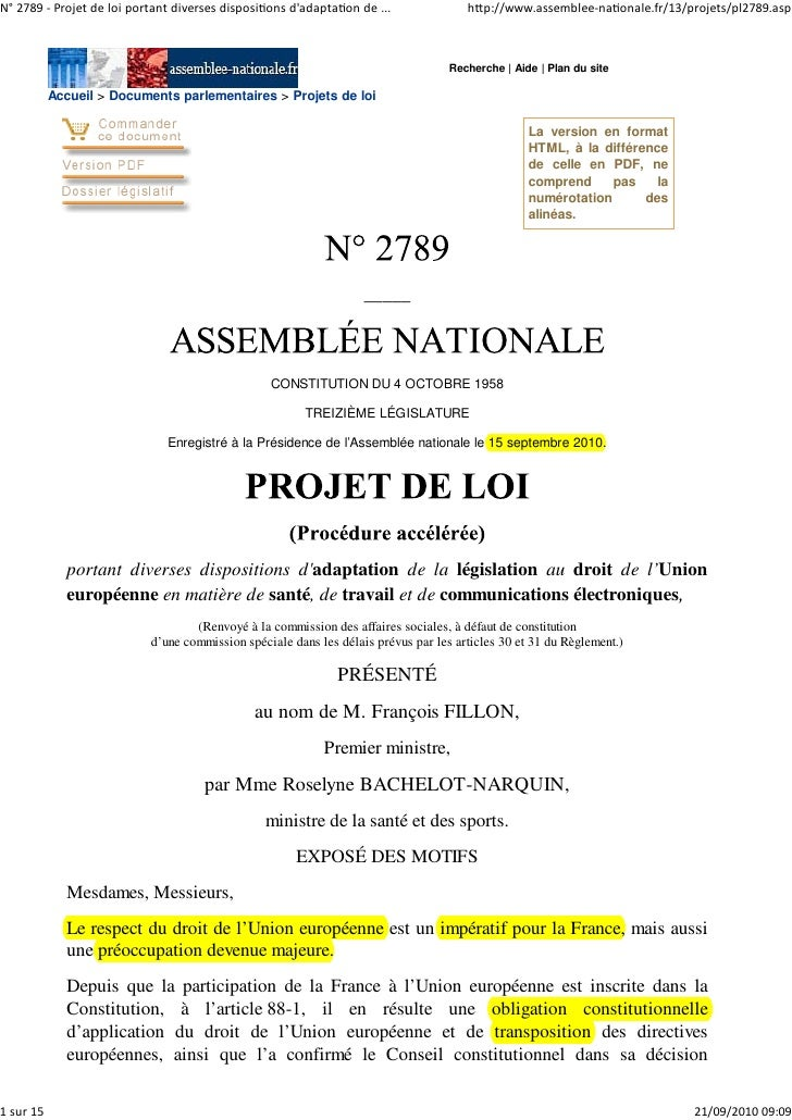 N° 2789 ‐ Projet de loi portant diverses dispositions d'adaptation de ...              http://www.assemblee‐nationale.fr/1...