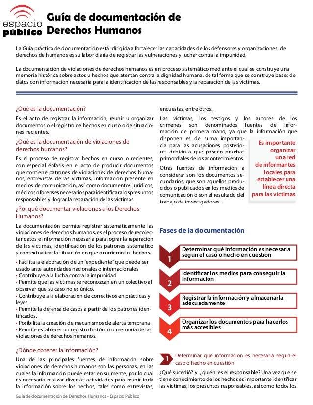 Guía de documentación de Derechos Humanos La Guía práctica de documentación está dirigida a fortalecer las capacidades de ...
