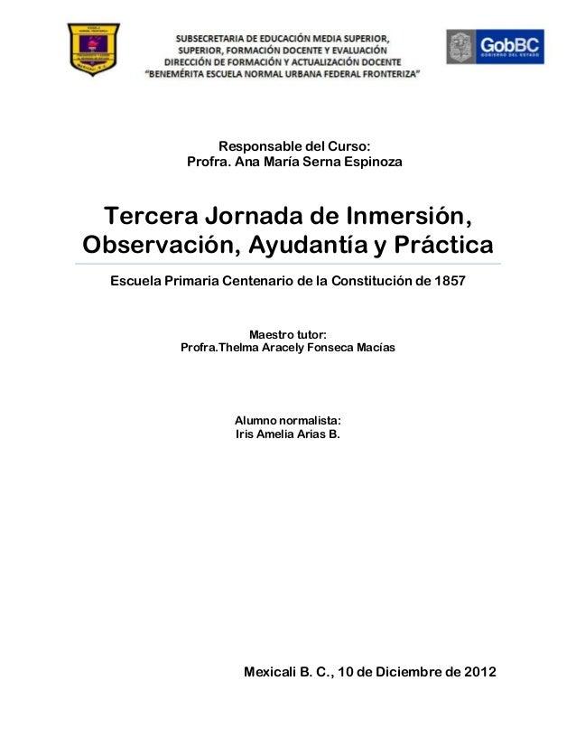Responsable del Curso:             Profra. Ana María Serna Espinoza Tercera Jornada de Inmersión,Observación, Ayudantía y ...