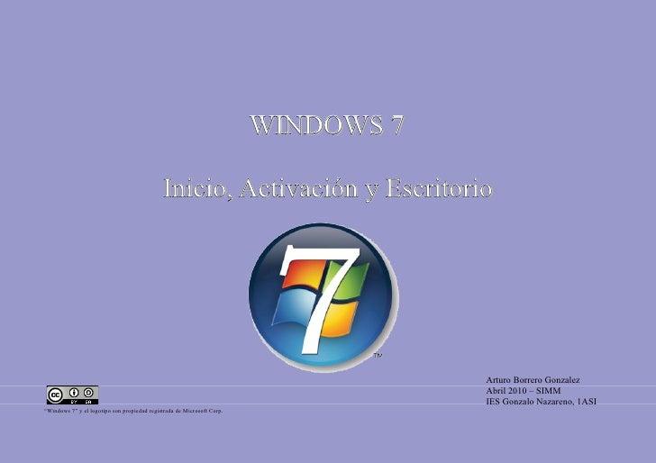 WINDOWS 7                                               Inicio, Activación y Escritorio                                   ...