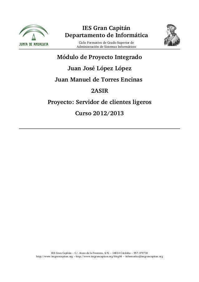 Proyecto, Implantacion de Clientes Ligeros
