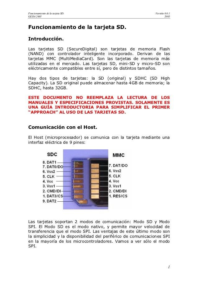 Funcionamiento de la tarjeta SD.                               Versión 0.0.1GEDA 2005                                     ...