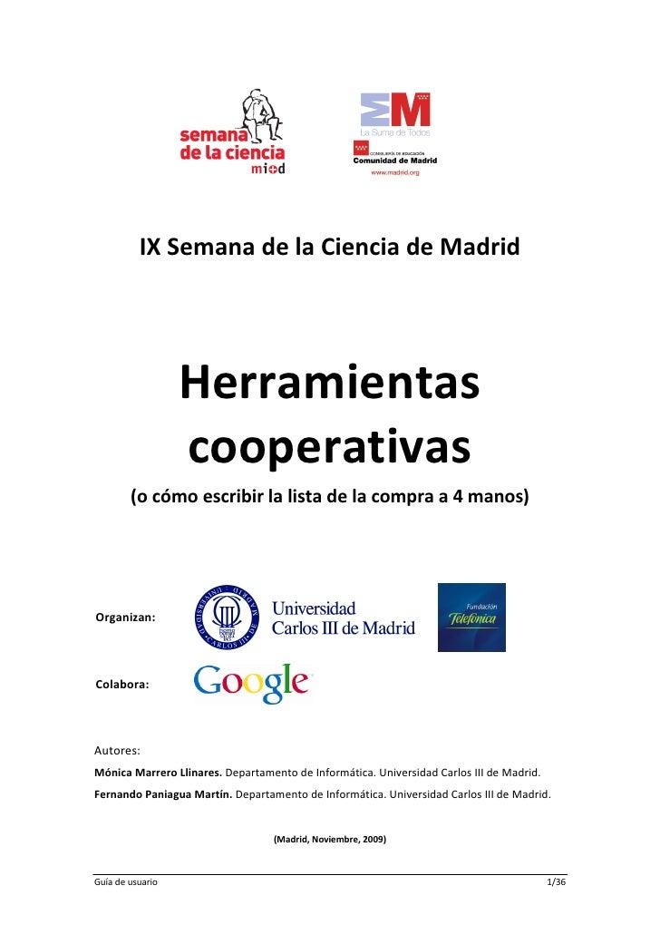 Documentacion Taller Herramientas Cooperativas Ix Semana De La Ciencia De Madrid