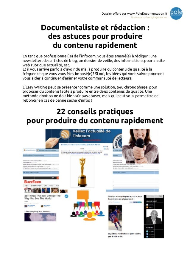 Documentaliste et rédaction - dossier complet easy writing