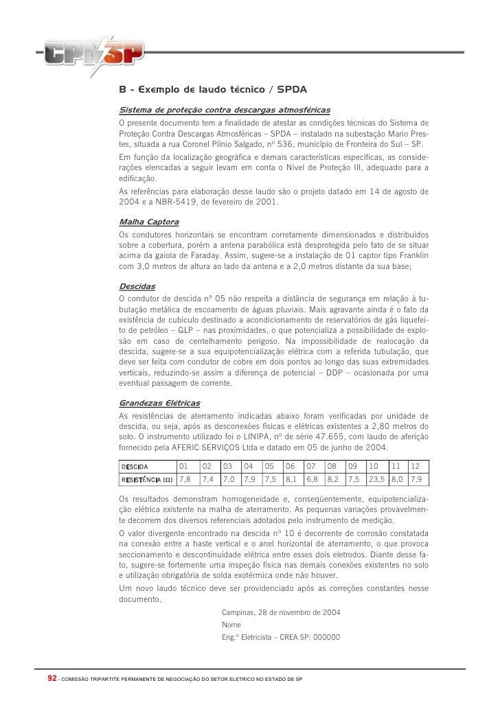 B - Exemplo de laudo técnico / SPDA                       Sistema de proteção contra descargas atmosféricas               ...