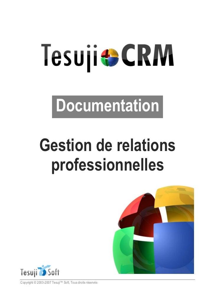 Documentation             Gestion de relations              professionnellesCopyright © 2003-2007 Tesuji   Soft, Tous droi...