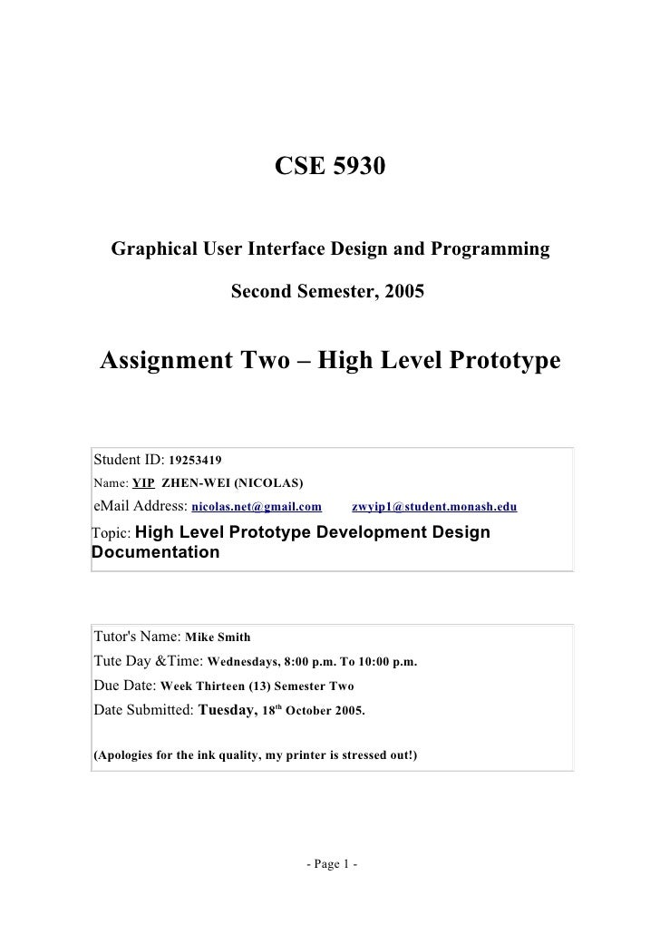 CSE 5930   Graphical User Interface Design and Programming                         Second Semester, 2005 Assignment Two – ...