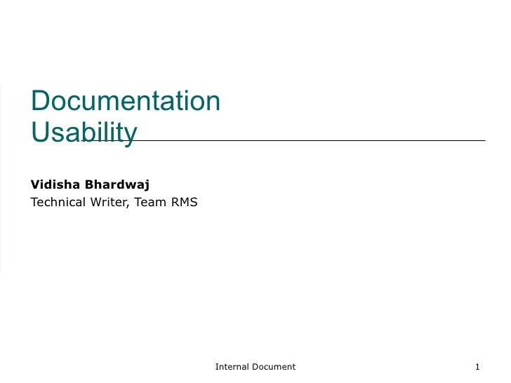 Documentation Usability