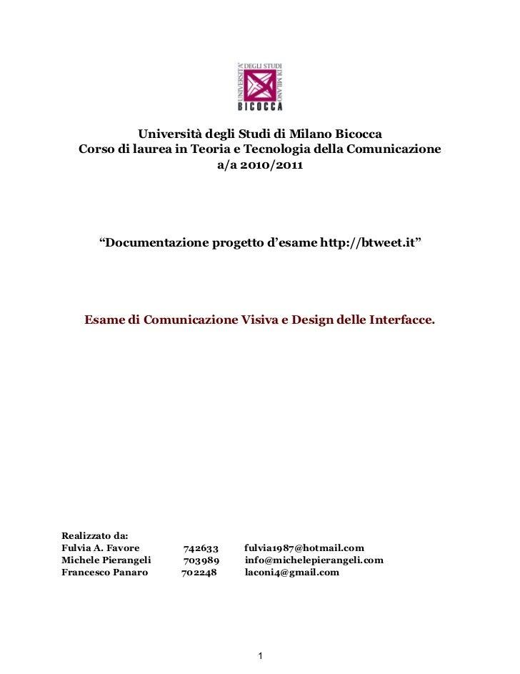 Università degli Studi di Milano Bicocca   Corso di laurea in Teoria e Tecnologia della Comunicazione                     ...